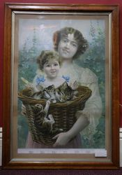 Late Victorian Birdseye Maple Framed Print of A Basket Full Of Mischief #