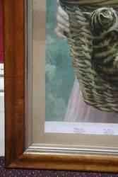 Late Victorian Birdseye maple Framed Print of A BasketFul Of Mischief