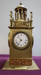 Rare Antique 4 Faced Miniature Turret Mantle Clock..