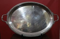 Large Victorian Silver Plated Serving Tray #
