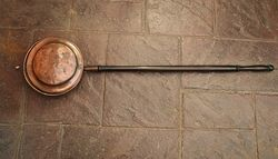 Genuine Antique Copper Bed Warming Pan #
