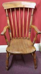 Antique Beech + Elm Victorian Arm Chair C1885 #