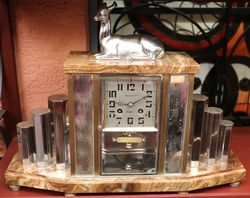 Art Deco Marble 8 Day Mantel Clock #