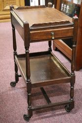 Quality Oak Drop-side Tea Trolley with Drawer #
