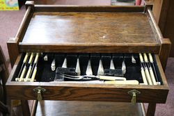 Early 20th Century Tea Trolley + Cutlery Canteen