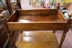Early 20th Century Tray Top Oak Tea Trolley