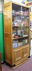 Oak Art Deco Bookcase Slider Glass Door 2 Door Cupboard Base C1935