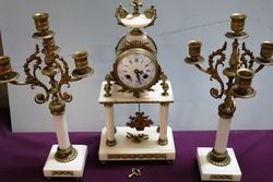 C19th French Marble & Gilt 3 Piece Clock Set.