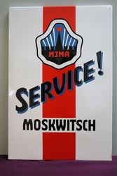 Moskwitsch Service Enamel Advertising Sign #
