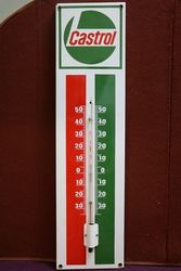 Genuine Castrol L Enamel Advertising Thermometer #