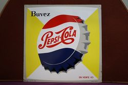 Pepsi Cola Bottle Cap Tin Advertising Sign #