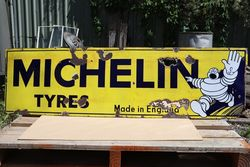 Michelin Tyres English Made Enamel Advertising Sign #