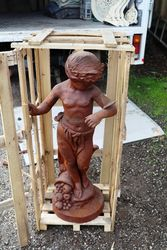 Cast Iron Cherub With Butterfly On Stand