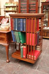 Large Antique Walnut Revolving Bookcase