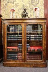 Victorian Burr Walnut 2 Door Bookcase.