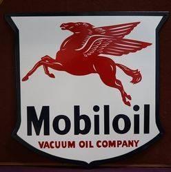 Mobiloil Enamel Advertising Sign #