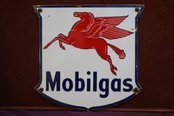 Mobilgas Pegasus Shield Enamel Advertising Sign #
