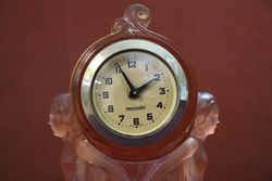 Art Deco Pink Glass Clock