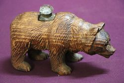 Antique Carved Bear Inkwell Stand.#