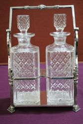 Wonderful Quality C19th Silver Plated 2 Bottle Cut Glass Tantalus #