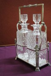 Wonderful Quality C19th Silver Plated 2 Bottle Cut Glass Tantalus