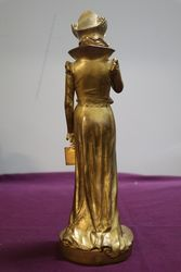 Signed Dominique Alonzo Gilt Bronze Lady Figure