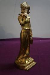 Signed Dominique Alonzo Gilt Bronze Lady Figure
