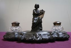 C19th Desk Companion Featuring a Spelter Figure of a Scribe #