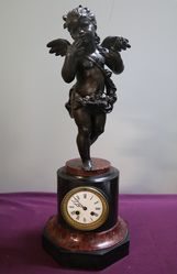 C19th French Marble & Spelter Clock.#