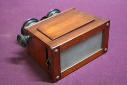 Antique Mahogany 3D Viewer With Box of 59 Glass Slides#