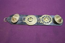 Set Of 3 Horse Brasses On Leather Strap #
