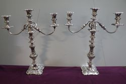 A Quality Pair Of Antique Silver Plated 3 Branch Candelabras #