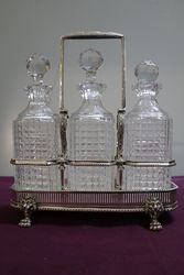 Antique Victorian Cut Glass 3 Bottle Tantalus in a Silver Plated#