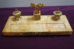 Antique Yellow Gold Marble Desk Set Mounted With a Gilt Eagle #