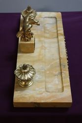 Antique Yellow Gold Marble Desk Set Mounted With a Gilt Eagle