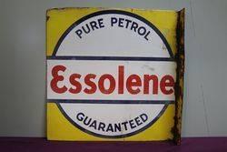 Essolene Pure Petrol Double Sided Enamel Advertising Sign #