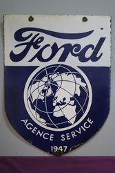 Ford Agence Service 1947 Doubled Sided Enamel Advertising Sign