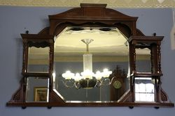 Edwardian Walnut 5 Section Over-mantle Mirror.#