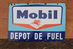 Mobil Depot De Fuel Enamel Advertising Sign #