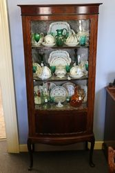 Antique Bow Front Mahogany Display Cabinet.#