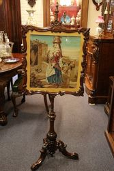 Antique Victorian Tapestry Poll Screen.