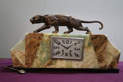 Art Deco Bronze & Marble Mantle Clock