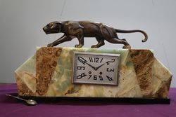 Art Deco Bronze & Marble Mantle Clock