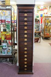 A Fine Antique Mahogany 15 Drawer Filing Cabinet..#