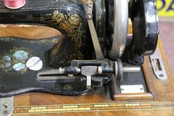 Antique Fiddle Base Sewing Machine With Case