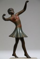 Cold Painted Spelter Figure on Alabaster Base In The Deco Style C1960