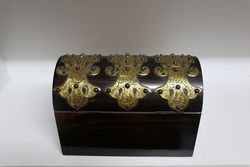 Victorian Brass Bound Coromandel Stationary Box