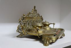Victorian Brass Desk Top Writing Set