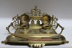 Victorian Brass Desk Top Writing Set