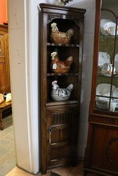 Small Oak 2 Shelf Corner Cabinet 20th Century